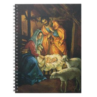 ヴィンテージのクリスマスの出生、飼い葉桶のベビーイエス・キリスト ノートブック