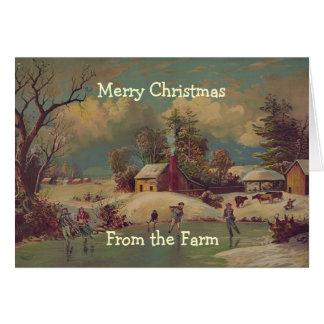 ヴィンテージのクリスマスの国の農場場面カード グリーティングカード