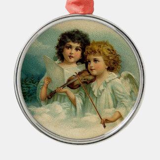 ヴィンテージのクリスマスの天使のデュオおよびバイオリン メタルオーナメント