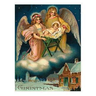 ヴィンテージのクリスマスの天使の出生 ポストカード