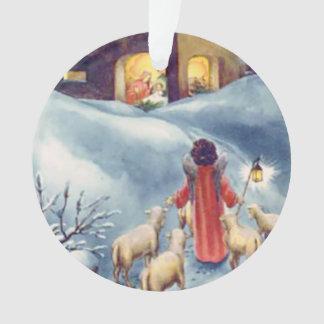 ヴィンテージのクリスマスの天使の羊飼いの出生 オーナメント