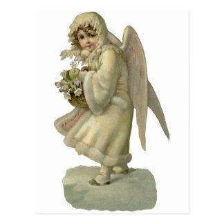 ヴィンテージのクリスマスの天使の花、型抜きされるビクトリア時代の人 ポストカード