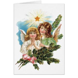 ヴィンテージのクリスマスの天使 グリーティングカード