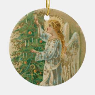 ヴィンテージのクリスマスの天使 セラミックオーナメント