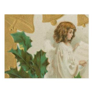 ヴィンテージのクリスマスの天使、鐘およびヒイラギ 葉書き