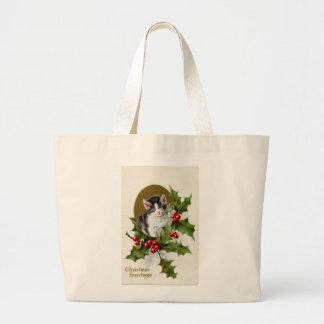 ヴィンテージのクリスマスの子ネコのジャンボトートバック ラージトートバッグ