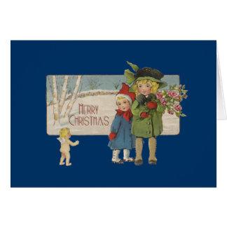 ヴィンテージのクリスマスの子供および天使の芸術のプリント カード