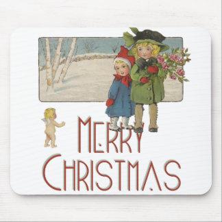 ヴィンテージのクリスマスの子供および天使の芸術のプリント マウスパッド