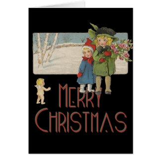 ヴィンテージのクリスマスの子供および天使 カード