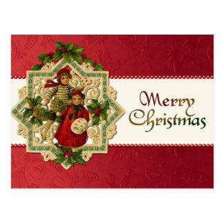 ヴィンテージのクリスマスの子供の郵便はがき ポストカード