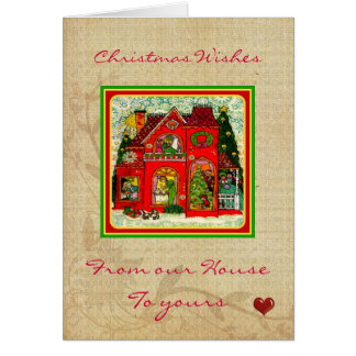 ヴィンテージのクリスマスの家カード カード