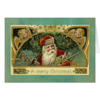 ヴィンテージのクリスマスの挨拶のサンタの天使 カード