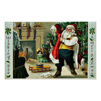 ヴィンテージのクリスマスの挨拶 ポスター