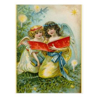 ヴィンテージのクリスマスの歌う天使 ポストカード
