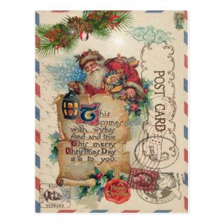 ヴィンテージのクリスマスの航空郵便の郵便はがきサンタクロース ポストカード