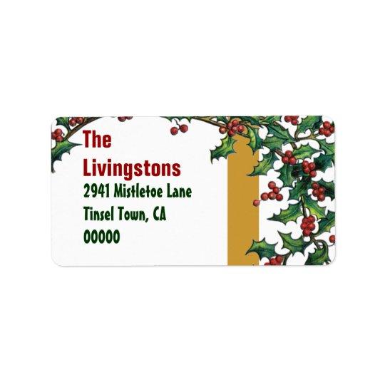 ヴィンテージのクリスマスの赤い緑金ゴールドのヒイラギ家族G400 宛名ラベル