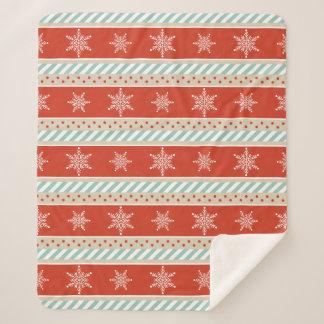 ヴィンテージのクリスマスの赤く真新しい雪片パターン シェルパブランケット