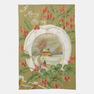 ヴィンテージのクリスマスの蹄鉄およびヒイラギ キッチンタオル
