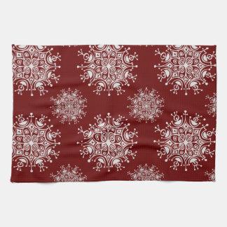 ヴィンテージのクリスマスの雪片の赤いブリザードパターン キッチンタオル