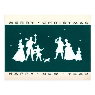 ヴィンテージのクリスマスの青いシルエットの郵便はがき ポストカード