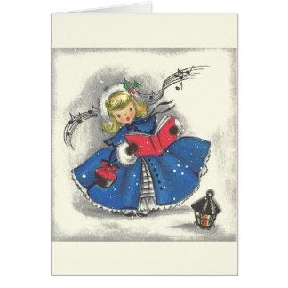 ヴィンテージのクリスマスはメッセージカードをキャロルを歌います カード