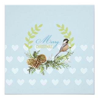 ヴィンテージのクリスマスカードのマツ円錐形の鳥のハート カード