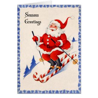 ヴィンテージのクリスマスカード-キャンディ・ケーンのスキーのサンタ カード