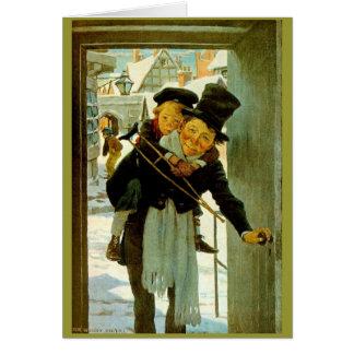 """ヴィンテージのクリスマスカード""""クリスマスキャロル"""" グリーティングカード"""
