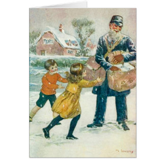 ヴィンテージのクリスマスカード、郵便集配人及び子供は、カスタマイズ カード