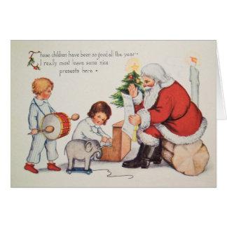 ヴィンテージのクリスマスカードwサンタは、それをカスタマイズ カード