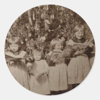 ヴィンテージのクリスマスキャロルのStereoviewカード ラウンドシール