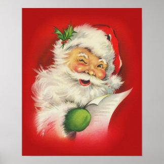 ヴィンテージのクリスマスサンタクロース ポスター