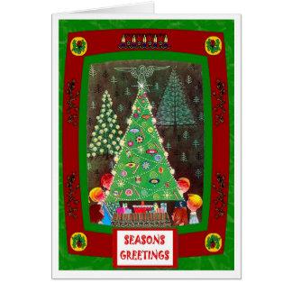 ヴィンテージのクリスマスツリーおよびキャロルの歌手 カード
