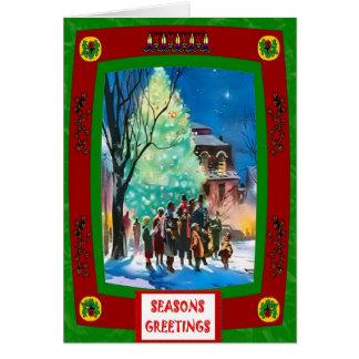 ヴィンテージのクリスマスツリーおよびキャロルの歌手 グリーティングカード
