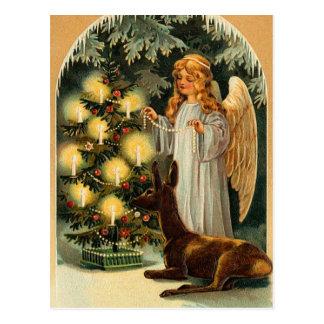 ヴィンテージのクリスマスツリーおよび天使 ポストカード