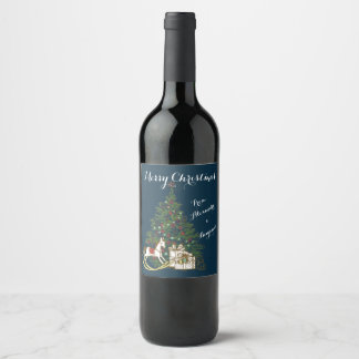 ヴィンテージのクリスマスツリーのワインのラベル ワインラベル
