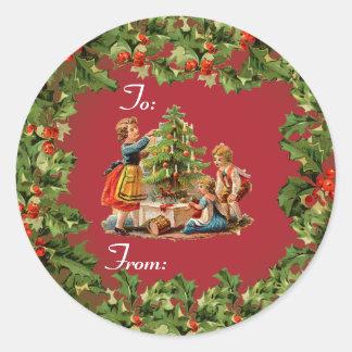 ヴィンテージのクリスマスツリー及び子供 ラウンドシール