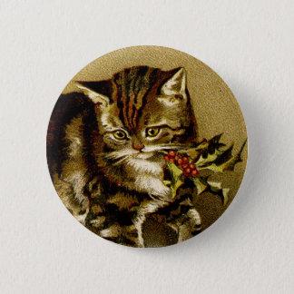 ヴィンテージのクリスマス猫ボタン 5.7CM 丸型バッジ