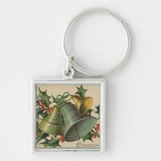 ヴィンテージのクリスマス鐘およびヒイラギ キーホルダー