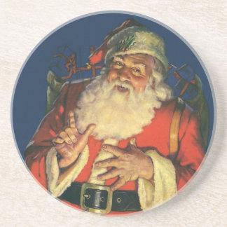 ヴィンテージのクリスマス、おもちゃを持つすてきなサンタクロース コースター
