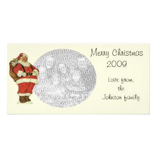 ヴィンテージのクリスマス、おもちゃを持つビクトリアンなサンタクロース カード