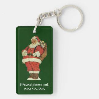 ヴィンテージのクリスマス、おもちゃを持つビクトリアンなサンタクロース キーホルダー