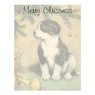 ヴィンテージのクリスマス、かわいいペット小犬 レターヘッド