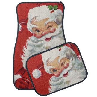 ヴィンテージのクリスマス、すてきなまばたきのサンタクロース カーマット