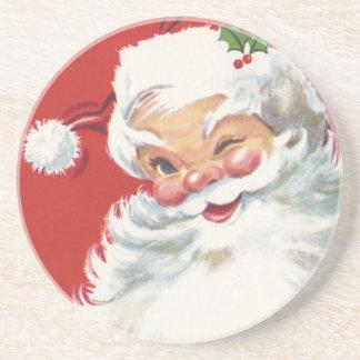 ヴィンテージのクリスマス、すてきなまばたきのサンタクロース コースター