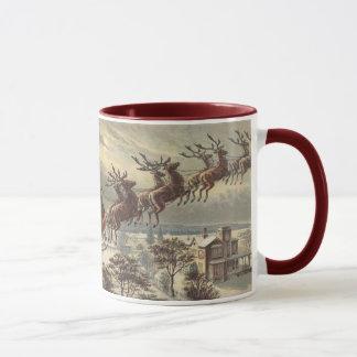 ヴィンテージのクリスマス、そりのビクトリアンなサンタクロース マグカップ