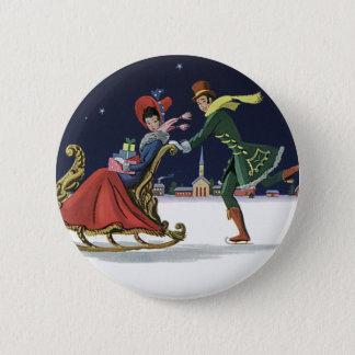 ヴィンテージのクリスマス、アイススケートする愛のカップル 5.7CM 丸型バッジ