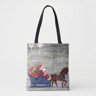 ヴィンテージのクリスマス、サンタおよび1つの馬の開いたそり トートバッグ