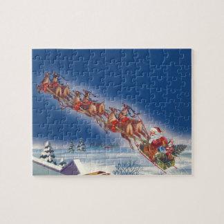 ヴィンテージのクリスマス、サンタの飛んでいるなそりwのトナカイ ジグソーパズル