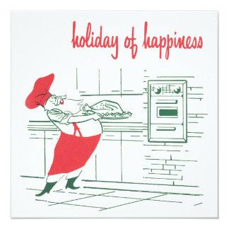 ヴィンテージのクリスマス、サンタクロースのシェフおよびトルコ カード